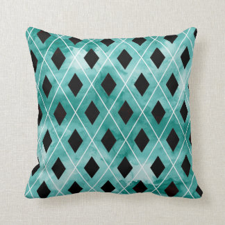 Teal Watercolor Argyle Pillow