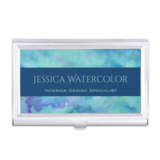 Teal Watercolor Background with Blue Banner Stripe Business Card Holder