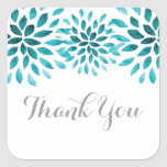 Teal Watercolor Chrysanthemum Thank You Square Sticker