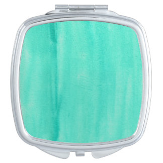 Teal Watercolor Compact Mirror