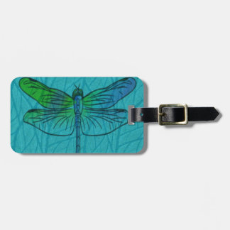 Teal Watercolor Dragonfly Luggage Tag