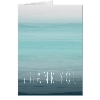 Teal Watercolor Inspired Ombre Thank You Card