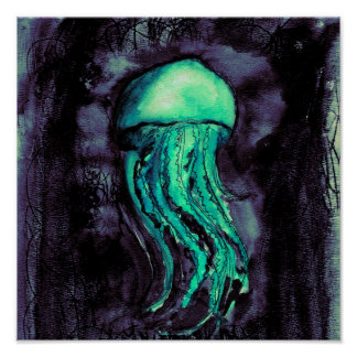 Teal Watercolor Jellyfish Poster