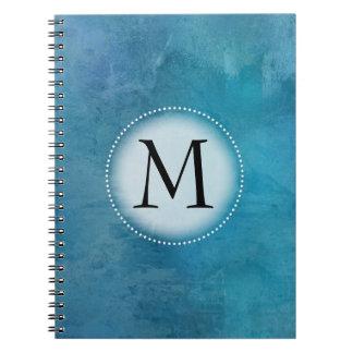 Teal Watercolor Monogrammed Spiral Notebook