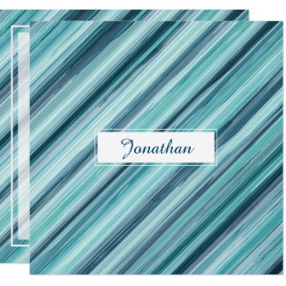 Teal Watercolor Painted Stripes (Teal, Cyan, Blue) 13 Cm X 13 Cm Square Invitation Card