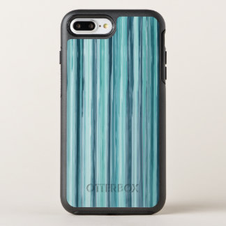 Teal Watercolor Painted Stripes (Teal, Cyan, Blue) OtterBox Symmetry iPhone 8 Plus/7 Plus Case