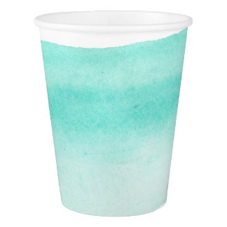 Teal Watercolor Paper Cup