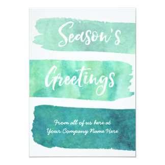 Teal Watercolor Photo Christmas Cards Business
