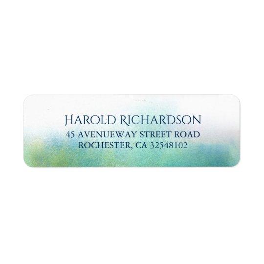 Teal Watercolor Shades Modern Wedding Return Address Label