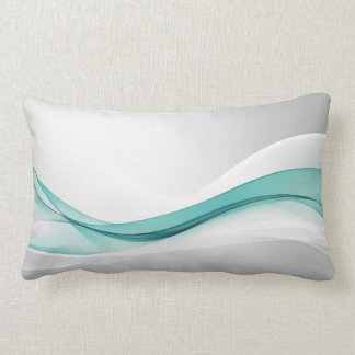 Teal Wave Abstract Lumbar Pillow