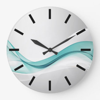 Teal Wave Abstract Wall Clock