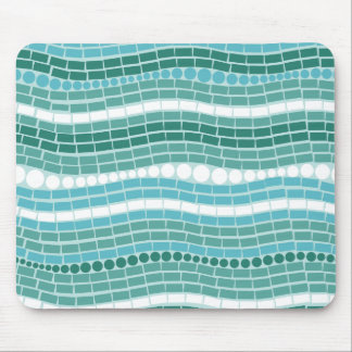 Teal Waves Aqua Turquoise Abstract Ocean Blue Mouse Pad