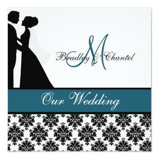 "Teal Wedding Couple Wedding Invitation 5.25"" Square Invitation Card"