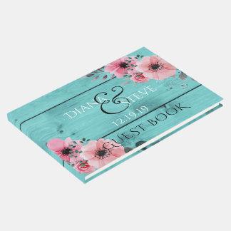 Teal Wedding Monogram | Rustic Wood Pink Flowers Guest Book