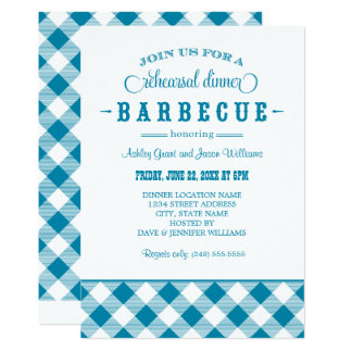 Teal Wedding Rehearsal Dinner   Casual BBQ 13 Cm X 18 Cm Invitation Card