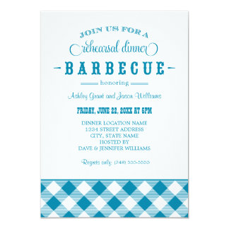 Teal Wedding Rehearsal Dinner | Casual BBQ 13 Cm X 18 Cm Invitation Card
