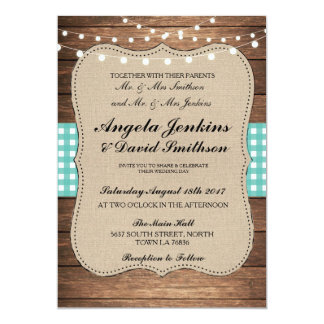 Teal Wedding Rustic Burlap Wood Lights Barn Invite