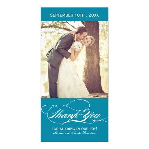 Teal Wedding Thank You Photo Card (4x8)