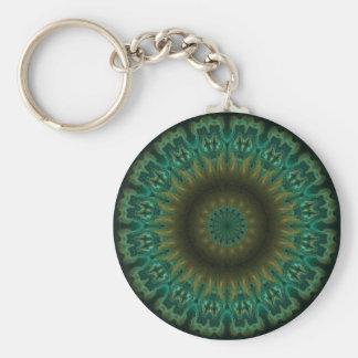 Teal Wheel Kaleidoscope Basic Round Button Key Ring