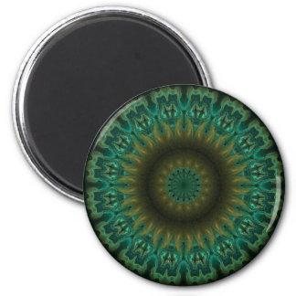 Teal Wheel Kaleidoscope 6 Cm Round Magnet