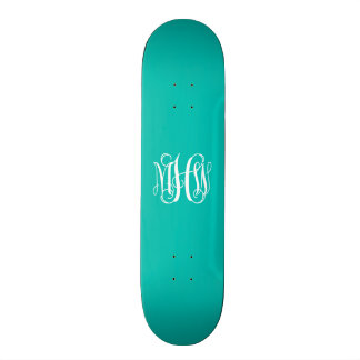 Teal White 3 Initials Vine Script Monogram Skate Board Decks