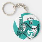 Teal, White and Black Volleyball Design Key Ring