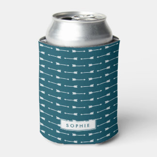 Teal & White Arrows Personalized Can Cooler