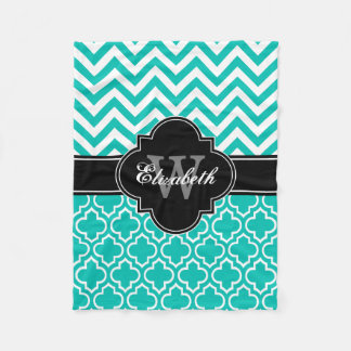 Teal White Black LG Moroccan #6 LG Chevron 1INQR Fleece Blanket