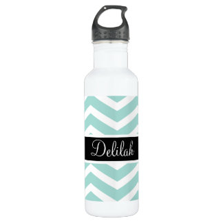 Teal White Chevron Black Name 710 Ml Water Bottle