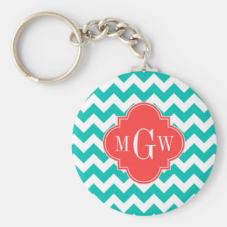 Teal White Chevron Coral Quatrefoil 3 Monogram Basic Round Button Key Ring