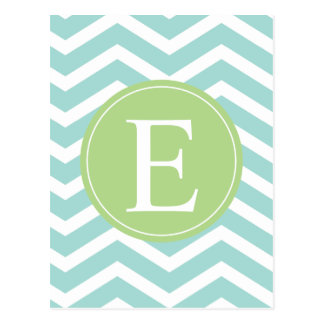 Teal White Chevron Green Monogram Postcard