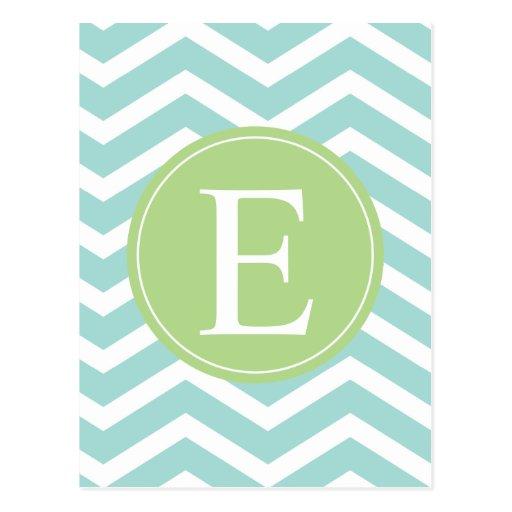 Teal White Chevron Green Monogram Post Cards