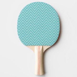 Teal White Chevron Pattern 2A Ping Pong Paddle