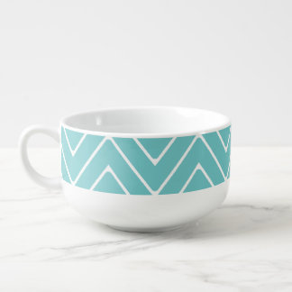 Teal White Chevron Pattern 2A Soup Mug