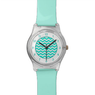 Teal White Chevron Wristwatch