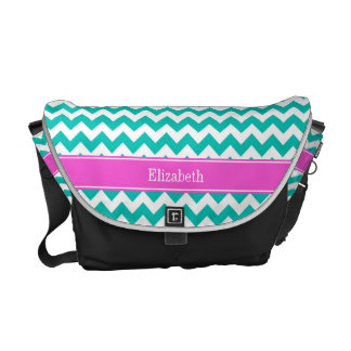 Teal White Chevron ZigZag Hot Pink Name Monogram Messenger Bags