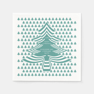 Teal/White Christmas Picture Font Tree Pattern Disposable Serviette