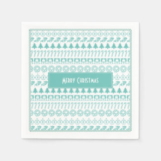 Teal/White Christmas Picture Fonts Fun Pattern Disposable Serviettes