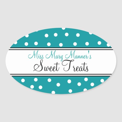 Teal & White Dots-Business Logo-Sweets Sticker