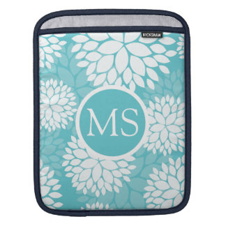 Teal White Floral Pattern iPad Sleeve