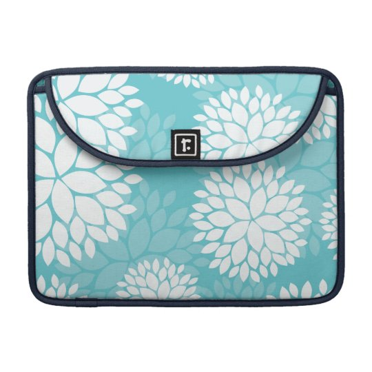 Teal White Floral Pattern Sleeves For MacBooks