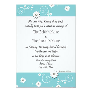 Teal White Floral Wedding Invitations