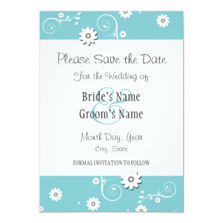 Teal White Floral Wedding Save the Date Cards 13 Cm X 18 Cm Invitation Card