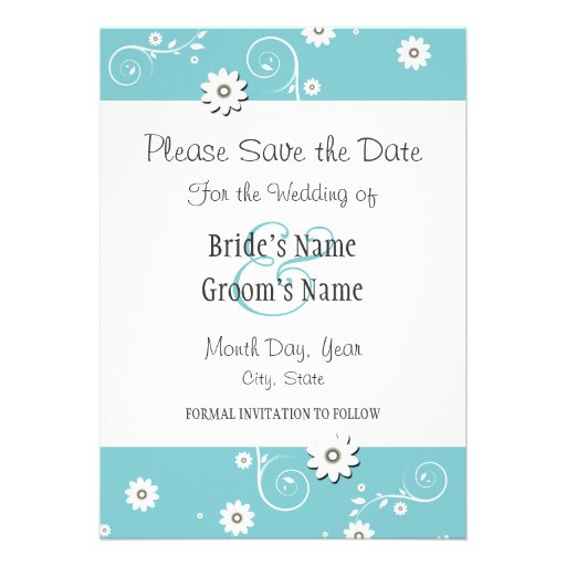 Teal White Floral Wedding Save the Date Cards Custom Announcements