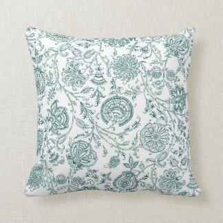 Teal & White Flower Pattern Cushion