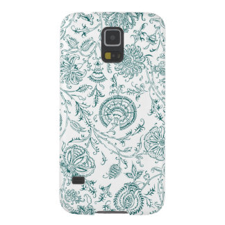 Teal & White Flower Pattern Galaxy S5 Cover