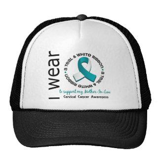 Teal & White For Mother-In-Law 17 Cervical Cancer Trucker Hat