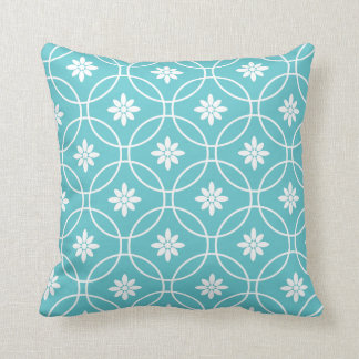 Teal White Geometric Floral Pattern Throw Pillow