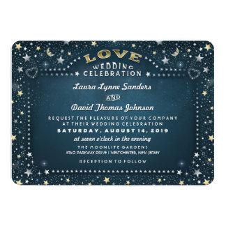 Teal White & Gold Moon & Stars Love Wedding 13 Cm X 18 Cm Invitation Card