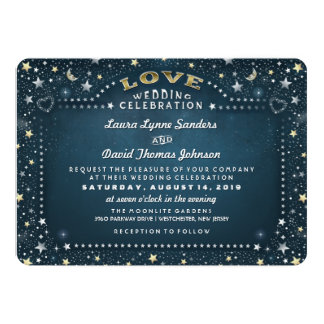 Teal White & Gold Moon & Stars Love Wedding Card
